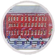 Snow Ball Fight At Banks School Round Beach Towel