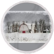 Snow Barn Round Beach Towel