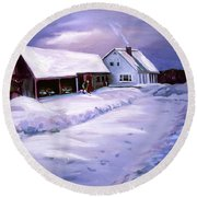 Snow Before Seven At Humpal's Home 2005 Round Beach Towel