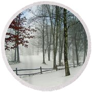 Snow Begins Round Beach Towel