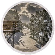 Round Beach Towel featuring the photograph Snow by Bill Howard