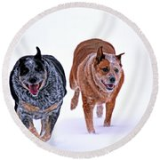 Snow Buddies Round Beach Towel by Elizabeth Winter