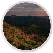 Round Beach Towel featuring the photograph Snow Camp Lookout by Leland D Howard