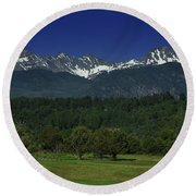 Snow Capped Mountains 2 Round Beach Towel