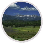 Snow Capped Mountains 3 Round Beach Towel