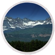 Snow Capped Mountains Round Beach Towel