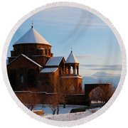Snow Capped St. Hripsipe Church At Winter, Armenia Round Beach Towel
