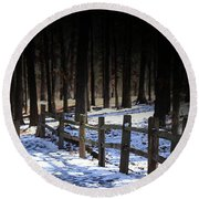 Round Beach Towel featuring the digital art Snow Covered Bridge by Kim Henderson