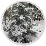 Snow Covered Evergreen Round Beach Towel