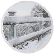 Snow Covered Fence Round Beach Towel by Helen Northcott