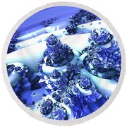 Snow Covered Fractal Round Beach Towel