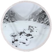 Snow Covered Lake Round Beach Towel