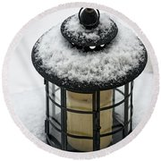 Snow Covered Lamp Round Beach Towel
