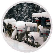 Snow Covered Mailboxes Round Beach Towel