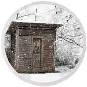 Snow Covered Outhouse Round Beach Towel