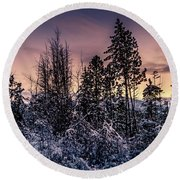Snow Covered Pine Trees Round Beach Towel