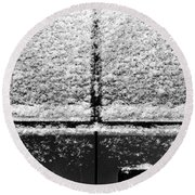 Round Beach Towel featuring the photograph Snow Covered Rear by Robert Knight