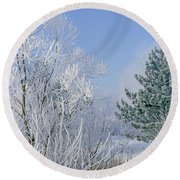 2a357 Snow Covered Trees At Alum Creek State Park Round Beach Towel