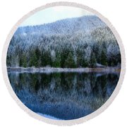 Snow Covered Trees Reflections Round Beach Towel by Lynn Hopwood