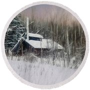Snow Covered Vermont Sugar Shack.  Round Beach Towel