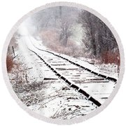 Snow Covered Wisconsin Railroad Tracks Round Beach Towel