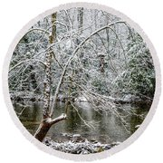 Round Beach Towel featuring the photograph Snow Cranberry River by Thomas R Fletcher