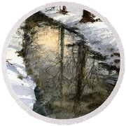Round Beach Towel featuring the painting Snow Creek by Andrew King