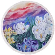 Snow Crocus Round Beach Towel