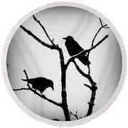 Snow Crows Round Beach Towel