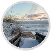 Snow Day At The Beach Round Beach Towel