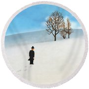Snow Day Round Beach Towel by Thomas Blood