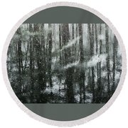 Snow Down Round Beach Towel by Betsy Zimmerli