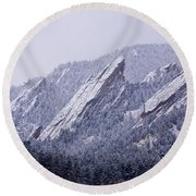 Snow Dusted Flatirons Boulder Colorado Round Beach Towel