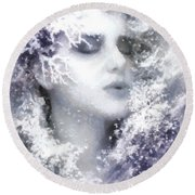 Snow Fairy  Round Beach Towel by Gun Legler