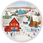 Snow Family  Round Beach Towel