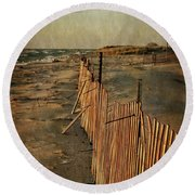 Round Beach Towel featuring the photograph Snow Fence And Lake Michigan by Michelle Calkins