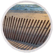 Round Beach Towel featuring the photograph Snow Fence On Lake Michigan by Michelle Calkins