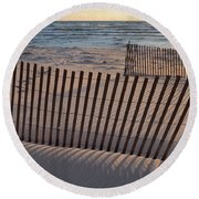 Round Beach Towel featuring the photograph Snow Fences 2.0 by Michelle Calkins