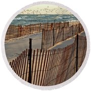 Round Beach Towel featuring the photograph Snow Fences 3.0 by Michelle Calkins
