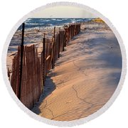 Round Beach Towel featuring the photograph Snow Fences 4.0 by Michelle Calkins
