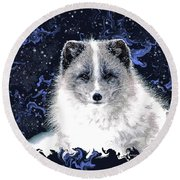 Snow Fox Round Beach Towel