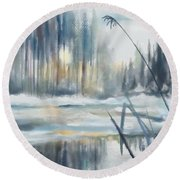 Round Beach Towel featuring the digital art Snow From Yesterday by Ivana Westin