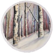 Snow In Birches Round Beach Towel