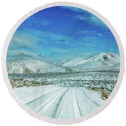 Round Beach Towel featuring the photograph Snow In Death Valley by Peter Tellone