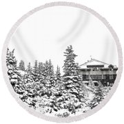 Round Beach Towel featuring the photograph Snow In July 2 by Teresa Zieba