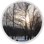 Snow In March Round Beach Towel