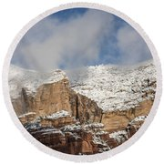 Round Beach Towel featuring the photograph Snow Kissed Morning In Sedona, Az by Sandra Bronstein