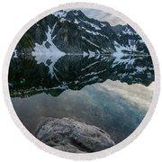 Snow Lake Chair Peak Dusk Reflection Round Beach Towel by Mike Reid