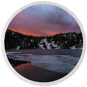 Snow Lake Icy Sunrise Fire Round Beach Towel by Mike Reid
