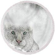 Snow Leopard Round Beach Towel by Darren Cannell